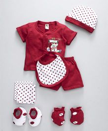Cucumber Clothing Gift Set of 8 Polka Dots Print - Red White