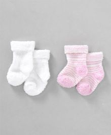 Luvable Friends Striped Socks - 2 Pairs Pack - Pink