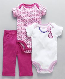 Luvable Friend Heart Print Onesies And Pajama Set - Pink