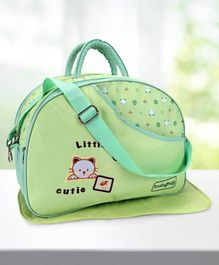 Babyhug Diaper Bag With Changing Mat Kitty Print - Green