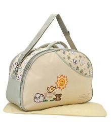 Babyhug Diaper Bag With Changing Mat Teddy & Sun Print - Cream