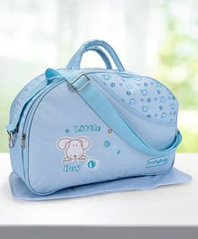 Babyhug Diaper Bag With Changing Mat Little Boy Print - Sky Blue