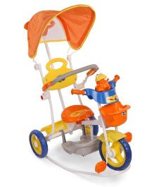 Mee Mee Musical Rocking Tricycle With Canopy - Orange Blue