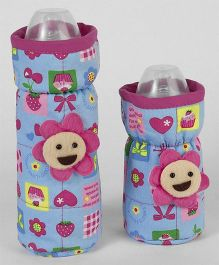 1st Step Bottle Cover Pack of 2 Blue & Pink - Fits upto 240 ml & 120 ml each