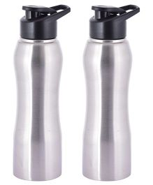 Pexpo Bistro Stainless Steel Sipper Water Bottle Silver & Black Pack of 2 - 750 ml each