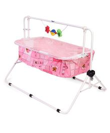 New Natraj Comfy Cradle With Mosquito Net Teddy Print - Pink