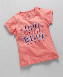 KiddoPanti Little Heart Breaker  Print Tee - Peach