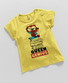 KiddoPanti Queen Genius Print Tee - Yellow