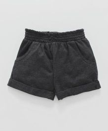Fox Baby Shorts With Turn Up Hem & Pockets - Black Melange