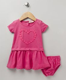 Fox Baby Half Sleeves Frock With Bloomer Heart Design - Fuchsia