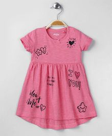 Fox Baby Short Sleeves Frock Text Print - Pink