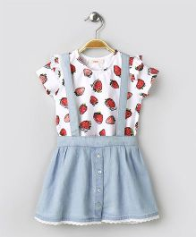 Fox Baby Short Sleeves Top & Skirt With Suspenders - White & Light Blue