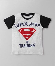 Eteenz Half Sleeves T-Shirt Super Hero Print - Grey