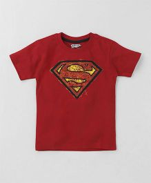 Eteenz Half Sleeves T-Shirt Superman Embossing - Red