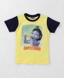 Eteenz Half Sleeves T-Shirt Hare Krishna Print - Yellow & Navy
