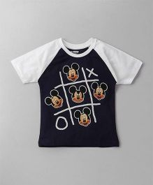 Eteenz Raglan Sleeves T-Shirt Mickey Mouse Print - Navy Blue