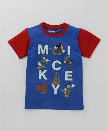 Eteenz Half Sleeves T-Shirt Mickey & Friends Print - Royal Blue