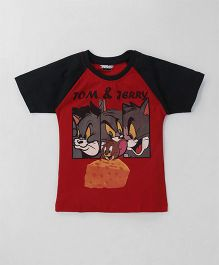 Eteenz Raglan Sleeves T-Shirt Tom & Jerry Print - Red