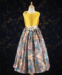 Bluebell Party Wear Gown Floral Corsage - Mustard Yellow