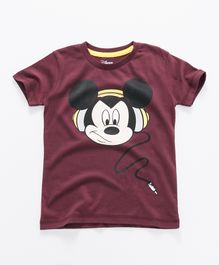 Mickey Mouse And Friends Printed Half Sleeves T-Shirt - Dark Maroon