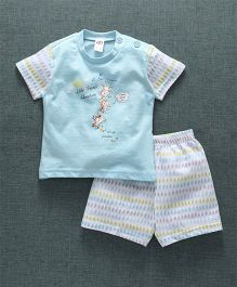 Zero Short Sleeves T-Shirt And Shorts Monkey Print - Sky Blue White