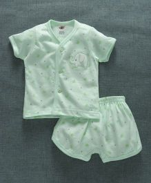 Zero Short Vest & Shorts Set Elephant Embroidery - Light Green