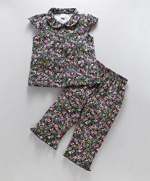 Teddy Cap Sleeves Night Suit Allover Floral Print - Navy Blue