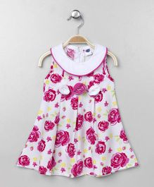 Teddy Sleeveless Dress Floral Print - Pink White