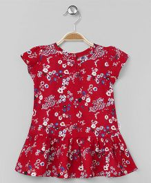 Teddy Cap Sleeves Frock Allover Floral Print - Red