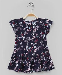 Teddy Cap Sleeves Frock Allover Floral Print - Navy