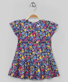 Teddy Cap Sleeves Frock Allover Rose Print - Blue