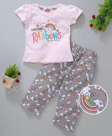 Babyhug Short Sleeves Tee & Lounge Pant Rainbow Print - Pink Grey