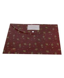 Leaf Print Envelope Folder Pouch - Coffee Brown