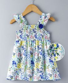 Babyhug Sleeveless Floral Frock With Flower Corsage - Multicolour
