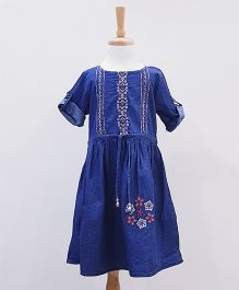 Aww Hunnie Embroidrey Non Denim Dress With Folded Sleeves - Blue