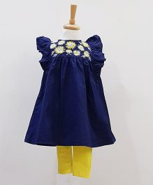 Aww Hunnie Two Piece Embroidery Top & Leggings - Blue & Yellow