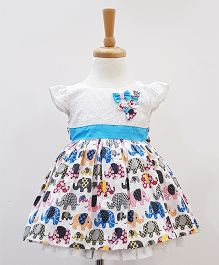 Aww Hunnie Crochet With Side Bow Printed Dress - Blue