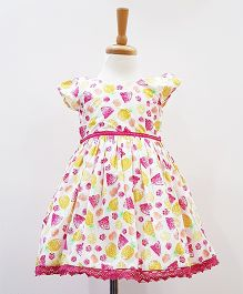 Aww Hunnie Pinted Frock With Head Band & Blommer - Pink