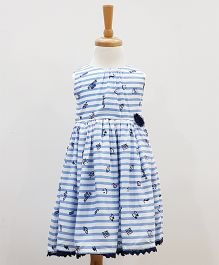 Aww Hunnie Printed Frock With Bloomer - Blue