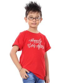 BonOrganik Half Sleeves T-Shirt Happily Ever After Print - Red