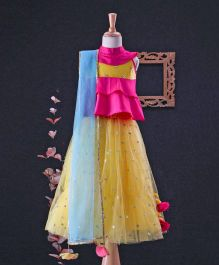 Tiny Pants Collared Frill Blouse With Sequin Work Lehenga & Dupatta - Pink, Yellow & Blue