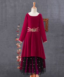 Tiny Pants Butterfly Embroidered Gown With Net - Maroon & Black
