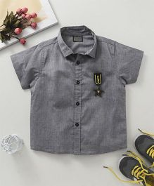 Rikidoos Half Sleeves Shirt With Star Broach - Grey