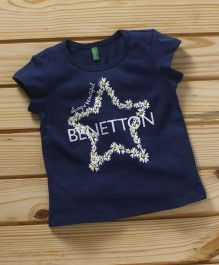 UCB Short Sleeves Tee Star And Flower Print - Navy Blue