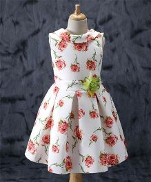 Enfance Floral Print Party Wear Dress - Red