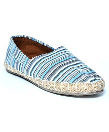 Teddy Toes Stripes Espadrilles - Blue & White