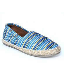 Teddy Toes Stripes Espadrilles - Blue & Grey