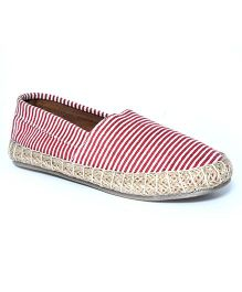 Teddy Toes Stripes Espadrilles - Red & White