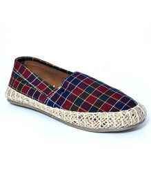 Teddy Toes Checks Espadrilles - Red & Blue