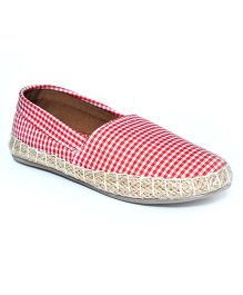 Teddy Toes Checks Espadrilles - Red